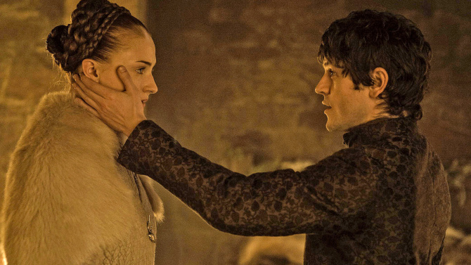 Ramsay Bolton, played by Iwan Rheon, strokes Sophie Turner's (Sansa Stark) face on a controversial episode of Game of Thrones. Photo Courtesy of HBO.