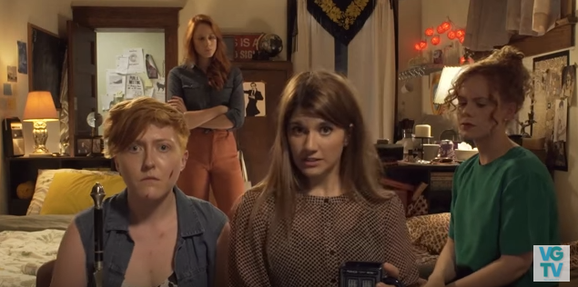 The web series Carmilla inspired a queer fan fiction story. From left to right, characters LaFontaine, Danny Lawrence (back), Laura Hollis, and Lola Perry.