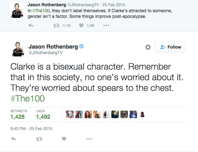 The 100's show creators made it very clear the identities of the characters on Twitter.